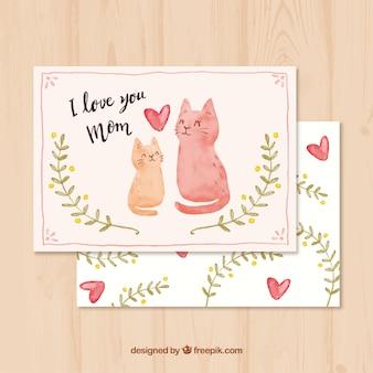 Cartão bonito com gatos da aguarela para o dia de mãe