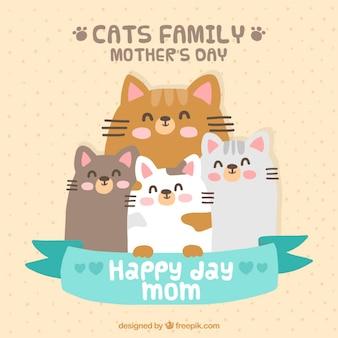 Cartão bonito da família gatos