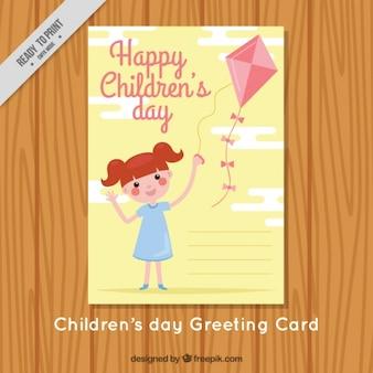 Cartão bonito da menina com papagaio