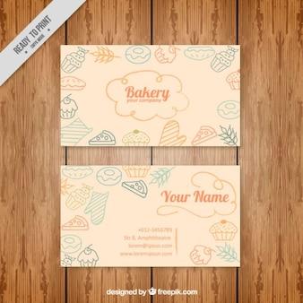 Cartão bonito da padaria com elementos desenhados mão no estilo do vintage