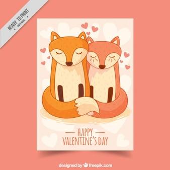 Cartão bonito do casal foxy no amor