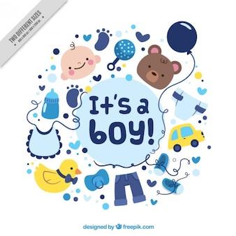 Cartão bonito do chuveiro de bebê com desenhos agradáveis