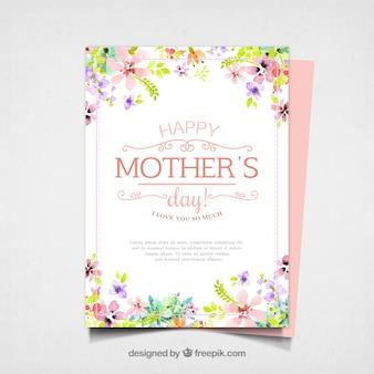Cartão bonito do dia de mãe com flores da aguarela