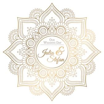 Cartão bonito do ornamento com mandala para o convite do casamento no estilo do bodo