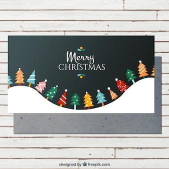 Cartão colorido árvores de natal