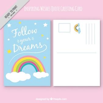 Cartão com arco-íris e citações