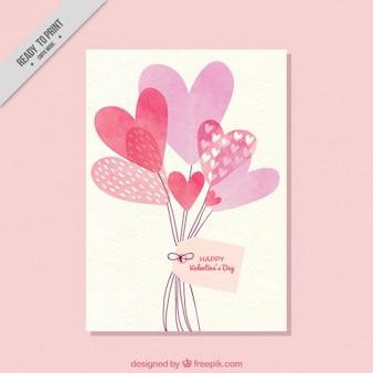 Cartão com balões de corações da aguarela