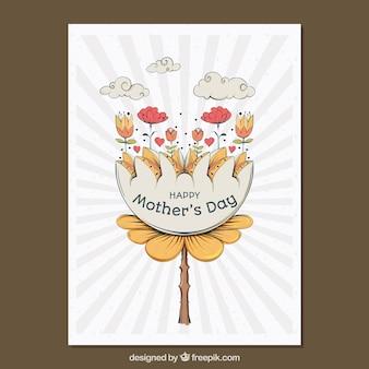 Cartão com design bonito para o Dia das Mães