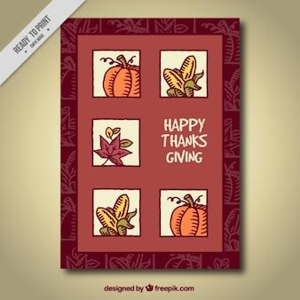 Cartão com elementos da natureza para o dia de Ação de Graças