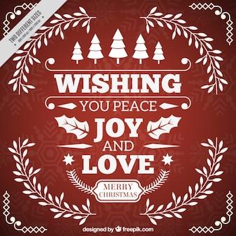 Cartão com mensagem do natal inspirador de paz e amor