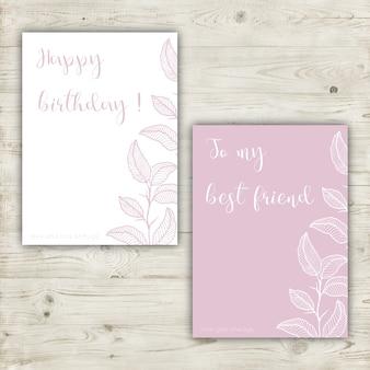 Cartão cor-de-rosa Pastel com elementos tirados mão