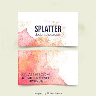Cartão corporativo com manchas alaranjadas e vermelhas da aguarela