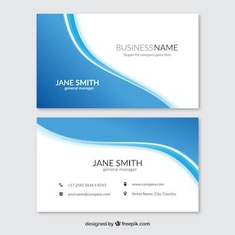 Cartão corporativo decorativo com formas onduladas azuis