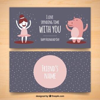 Cartão da amizade bonita com a frase emocional