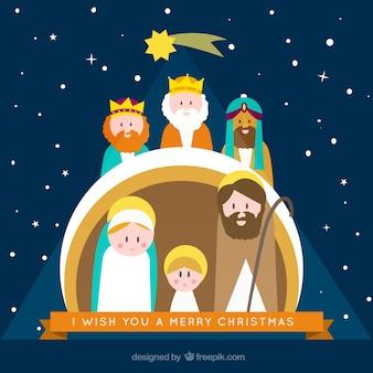 Cartão da cena da natividade