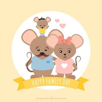 Cartão da família ratos Adorável