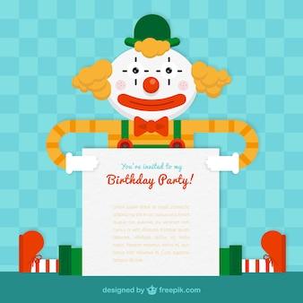 Cartão da festa de aniversário com um palhaço