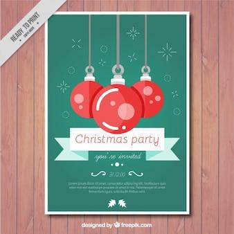 Cartão da festa de Natal com esferas vermelhas