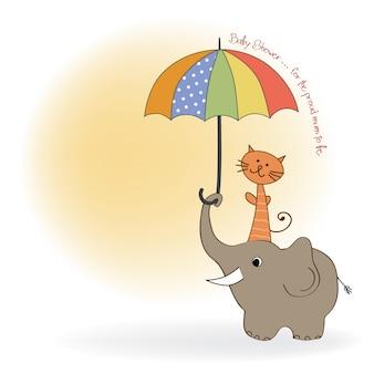 Cartão da festa do bebé com elefante engraçado e gato pequeno sob o guarda-chuva