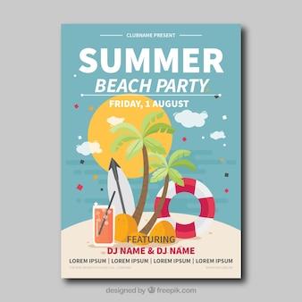 Cartão da festa na praia