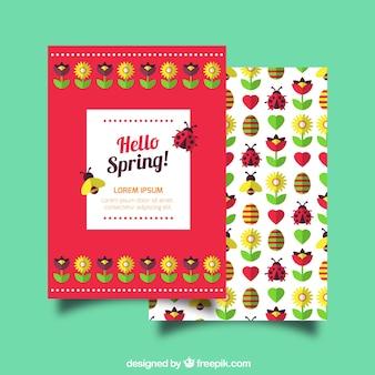 Cartão da mola com insetos e flores