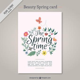 cartão da mola da beleza