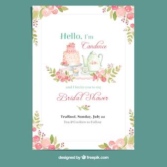 Cartão de aguarela floral para festa de despedida de solteira