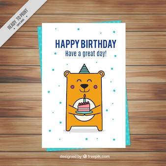 cartão de aniversário agradável urso
