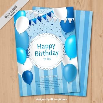 cartão de aniversário azul com balões e grinaldas
