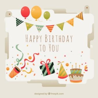 Cartão de aniversário bonito com elementos
