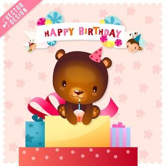 Cartão de aniversário bonito com um urso