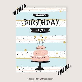 Cartão de aniversário bonito no estilo retro