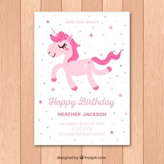 Cartão de aniversário branco com um unicórnio rosa