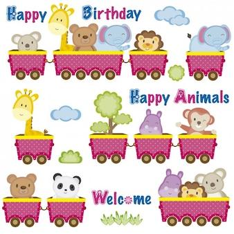 Cartão de aniversário com animais em vagões