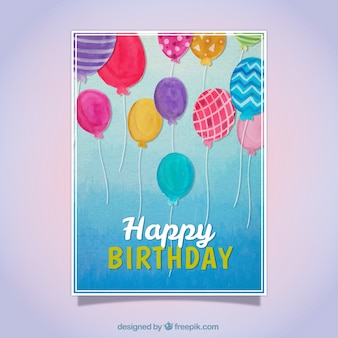 Cartão de aniversário com balões da aguarela
