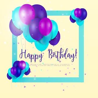 Cartão de aniversário com balões multicoloridos