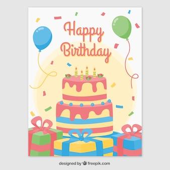 Cartão de aniversário com bolo de aniversário