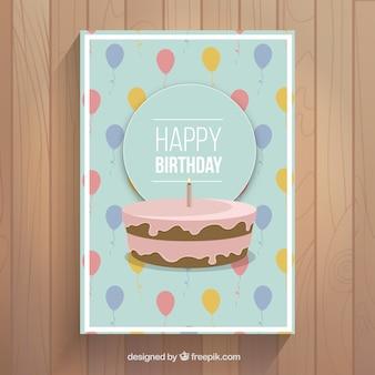 Cartão de aniversário com bolo e balões