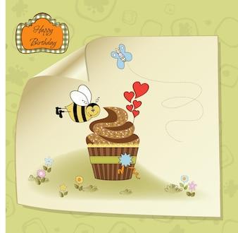 Cartão de aniversário com cupcake e abelha engraçada