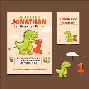 Cartão de aniversário com design de dinossauro
