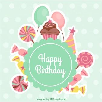 Cartão de aniversário com doces