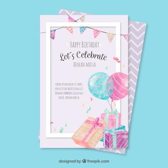 Cartão de aniversário com elementos de aquarela