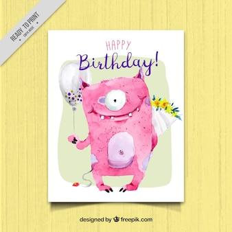 Cartão de aniversário com lovely monstro