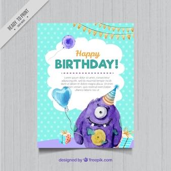 Cartão de aniversário com monstro aguarela