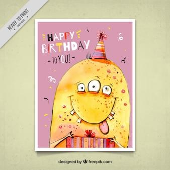 Cartão de aniversário com monstro engraçado