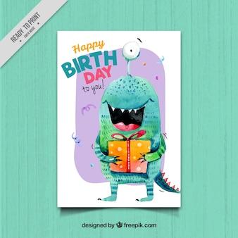 Cartão de aniversário com monstro