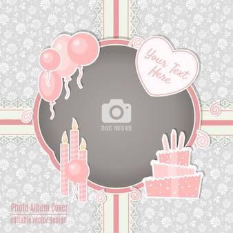 Cartão de aniversário com um quadro do rosa