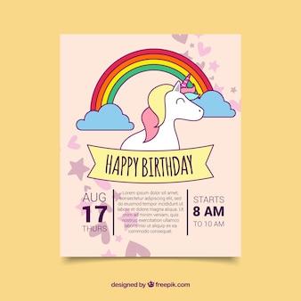 Cartão de aniversário com um unicórnio desenhado à mão
