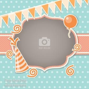 Cartão de aniversário com uma moldura laranja