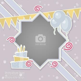 Cartão de aniversário com uma moldura